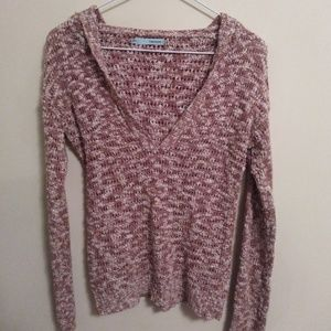 Maurices V- Neck Long Sleeve Sweater with Hood